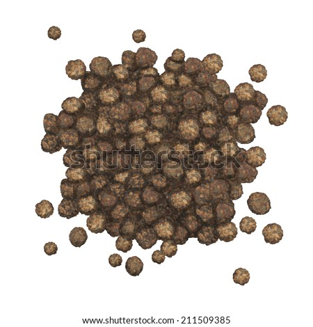 Watercolor black pepper seeds pile isolated on a white background - illustration - stock photo