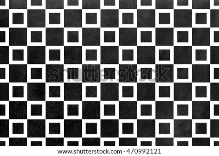 Watercolor black square pattern. Geometrical traditional ornament for fashion textile, cloth, backgrounds.