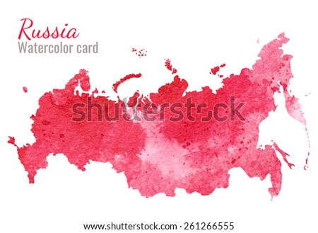 watercolor, Blob, divorce, map, Russia - stock photo