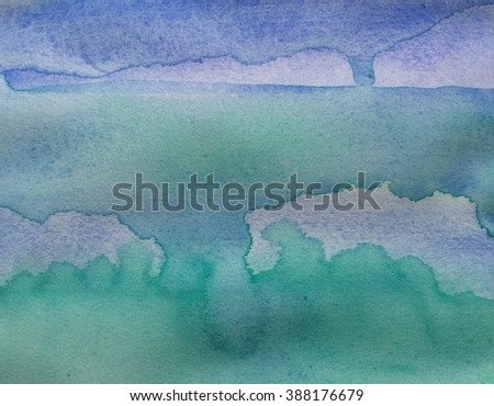 "watercolor, blue and turquoise ""under the sea"""
