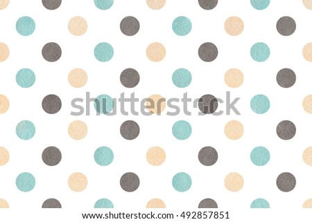 Watercolor blue, beige and gray polka dot background. Pattern with colorful polka dots for scrapbooks, wedding, party or baby shower invitations.