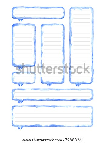 Watercolor blue blank speech bubble dialog with gray lines for notes on white background - stock photo