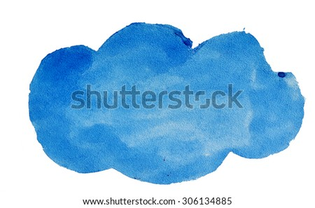 Watercolor blue cloud for design. - stock photo
