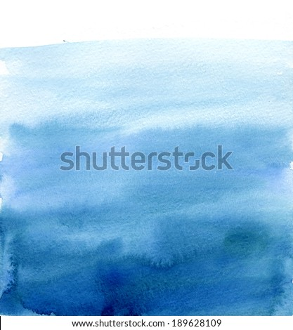 Watercolor blue gradient, like the sky or sea water - stock photo