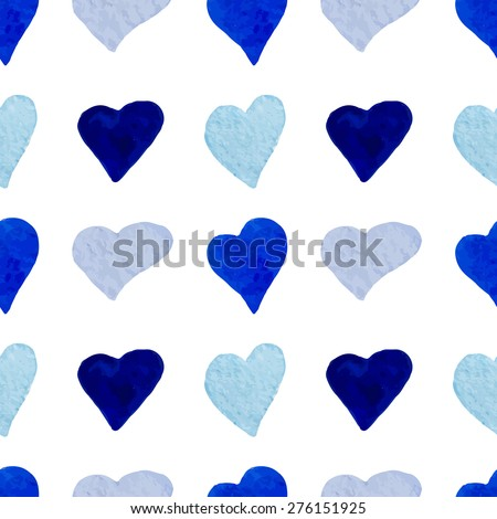 Watercolor blue hearts seamless pattern. raster version background. Handdrawn hearts are mixed between ourselves. Hand drawing illustration for your design. Love theme. - stock photo