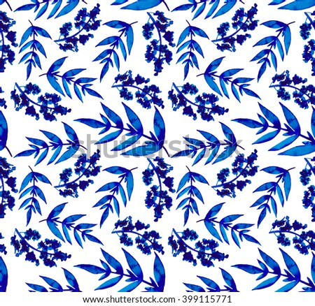 Watercolor Blue Leaves And Lilac Repeat Pattern - stock photo