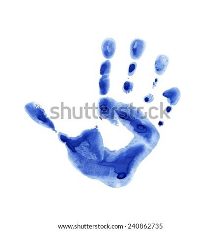Watercolor blue print of children palm - stock photo