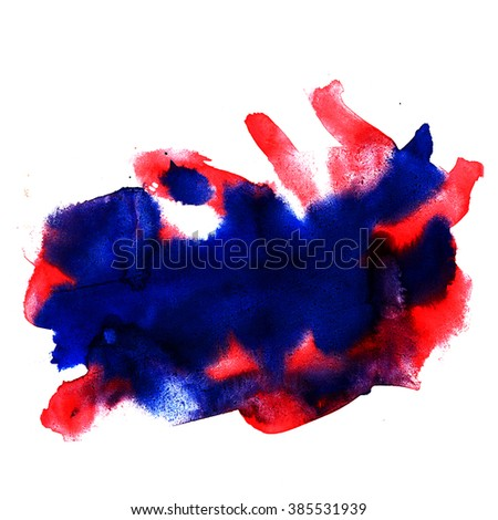 watercolor  blue red strokes paint brush stroke color texture with space for your own text