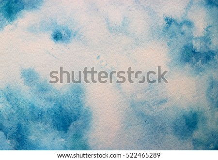 watercolor blue sky with paper texture; hand drawn summer background