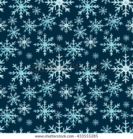 Watercolor Blue Snowflakes Seamless Pattern