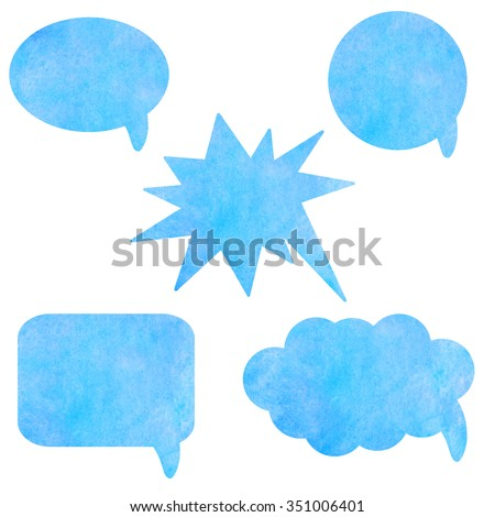 Watercolor blue speech bubbles isolated on white background set. Hand painting on paper - stock photo