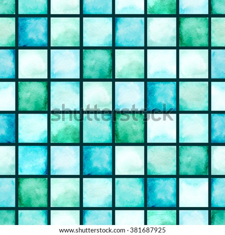 Watercolor Blue Squares Mosaic Pattern