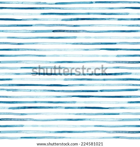 Watercolor blue stripes. Seamless pattern - stock photo