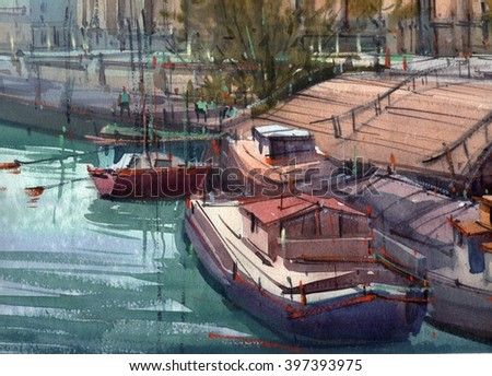watercolor boat's port illustration