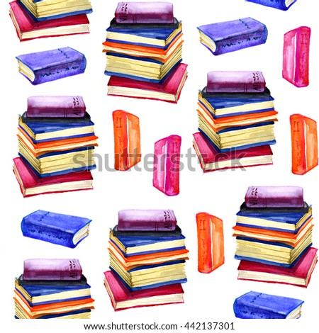 Watercolor books seamless pattern. Education hand drawn background