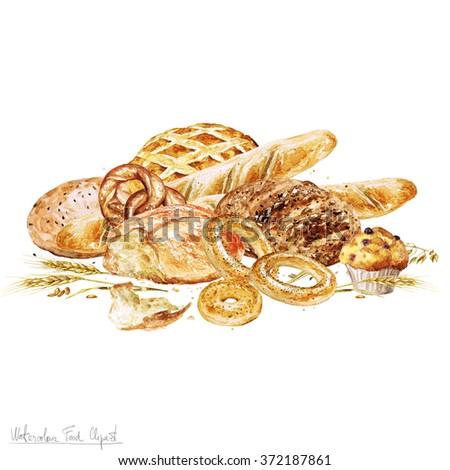 Watercolor Border - Bread - stock photo