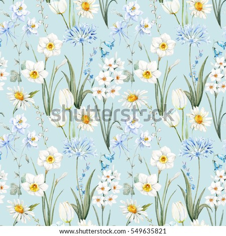 Watercolor Botanical Floral Pattern Wallpaper Spring Daffodil Flowers Daisy White Blue Aquilegia
