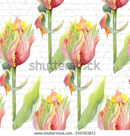 Watercolor botanical illustration of a parrot tulip. Flower pattern on vintage background. Can be used as greeting card, invitation card for wedding, birthday and other holiday and summer background