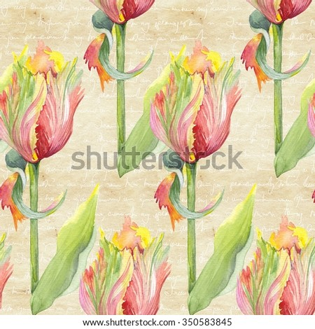 Watercolor botanical illustration of a parrot tulip. Flower pattern on vintage background. Vintage botanical illustration of a tulip. Parrot tulip in watercolor.