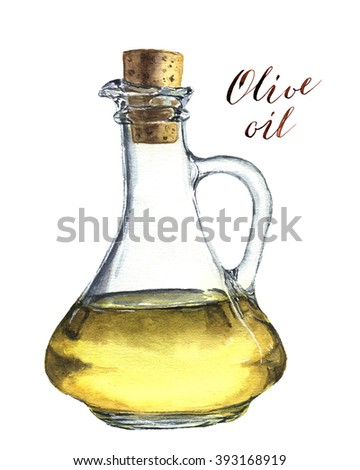 Watercolor bottle of olive oil. Realistic illustration.  For print, design, textile and background.