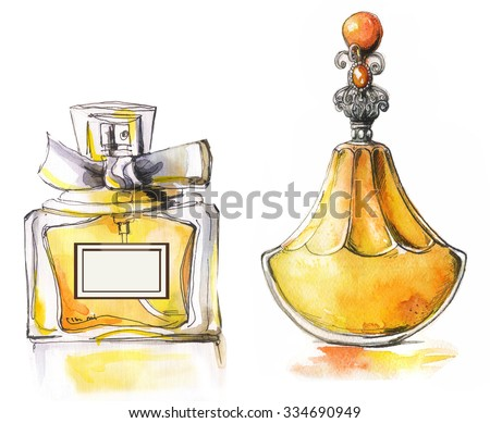 watercolor bottles with perfume - stock photo