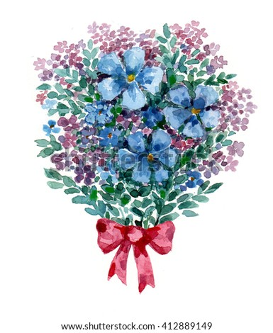 watercolor bouquet of blue flowers - stock photo