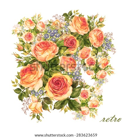 Watercolor bouquet of delicate tea roses with forget-me-nots. Floral background.  Antique styling. - stock photo