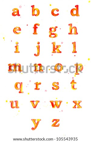 Watercolor bright alphabet with splashes - stock photo