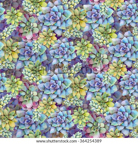 Watercolor bright seamless pattern with succulent plants. Hand drawn raster illustration - stock photo