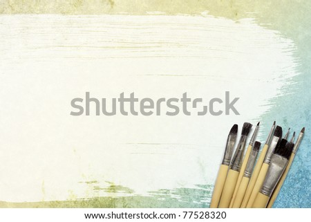 Watercolor brush, brush and placed on the surface of the paper.