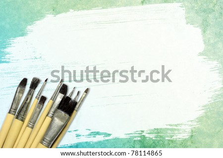 Watercolor brush, brush and placed on the surface of the paper. - stock photo