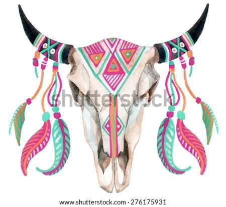 watercolor buffalo skull, hand painted illustration - stock photo