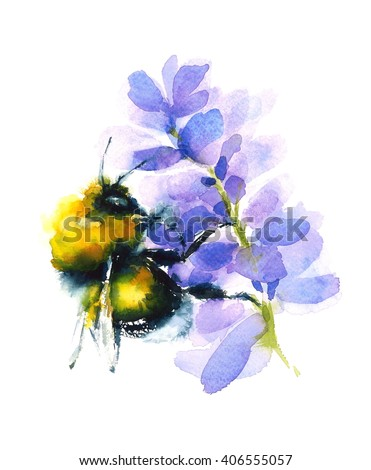 Watercolor Bumblebee Gathering Honey From A Flower Hand Painted Summer Illustration Isolated On White Background