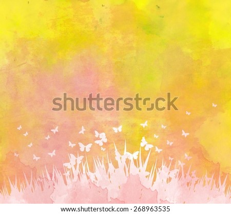 watercolor butterflies and floral background - stock photo