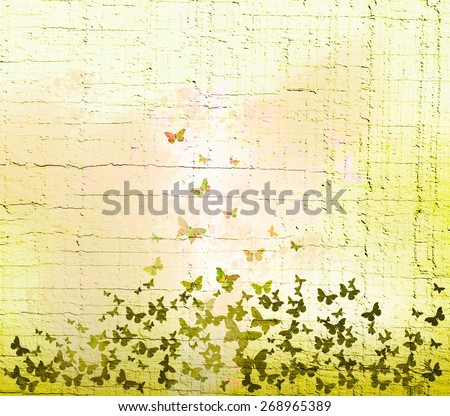 watercolor butterflies background - stock photo