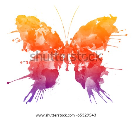 Watercolor butterfly Isolated on White Background. Colorful rainbow illustration of watercolor butterfly with spray paint on the wings. Butterfly image for a bright watercolor artwork. - stock photo