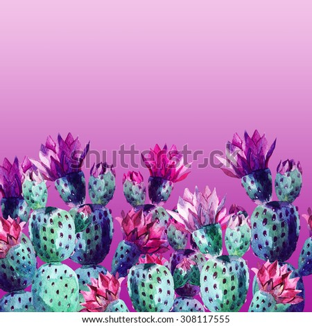 Watercolor cactus card on white background. Hand painted illustration - stock photo