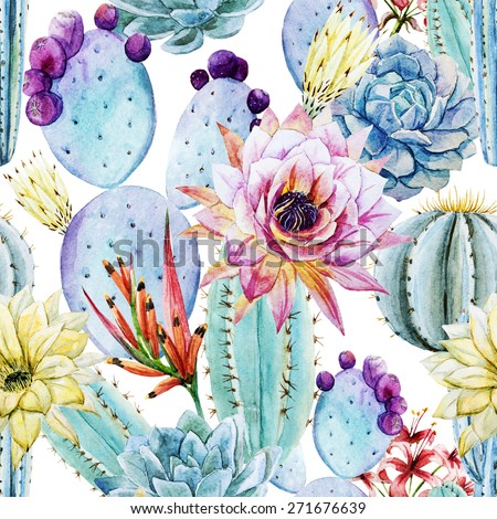watercolor, cactus, pattern, flowers, prickly, pattern, background - stock photo