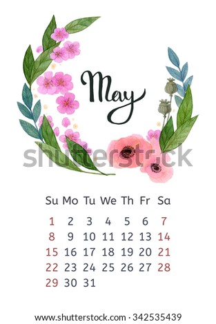 Watercolor calendar with floral wreath and hand lettering. May 2016