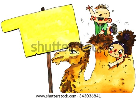 watercolor camel, children, cartoon illustration isolated on white background - stock photo