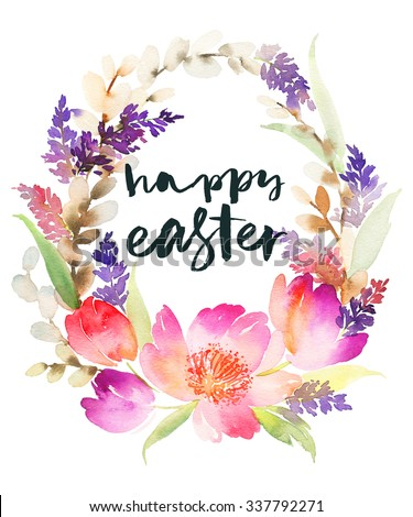 Watercolor card with flowers. Handmade. Easter wreath. Hand lettering. - stock photo