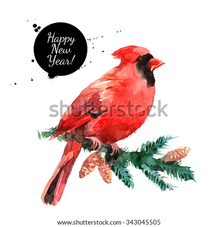 Watercolor Cardinal Red Bird illustration. merry Christmas and Happy New Year card - stock photo