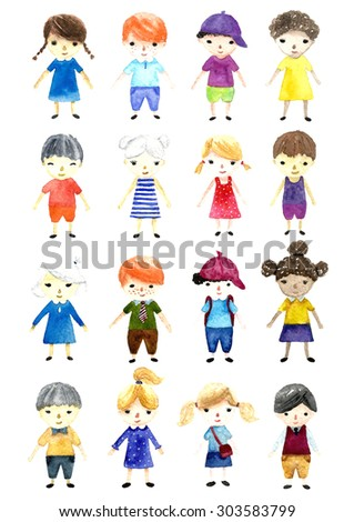 Watercolor cartoon colorful children on white background. Hand drawn illustration. - stock photo