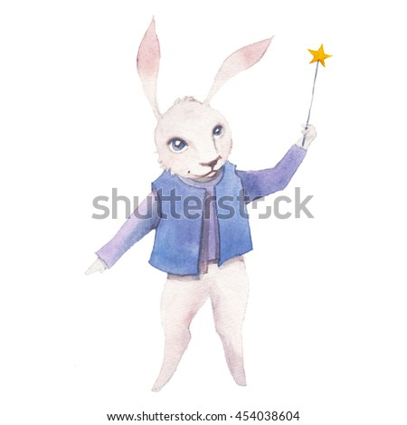 Watercolor Cartoon Rabbit With Magic Wand Hand Drawn Fairytale Animal Show On White Background