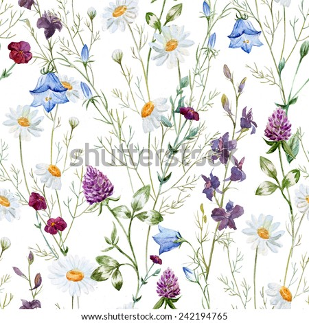 watercolor, chamomile, clover, bell, wildflowers, flowers - stock photo
