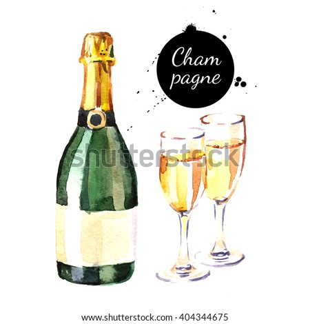 Watercolor champagne bottle and glasses icon. Isolated alcoholic cocktail beverage drink illustration on white background - stock photo