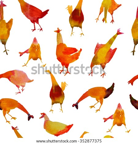 Watercolor chicken pattern seamless. Chicken Farm watercolor illustration. Watercolour rooster and chicken. - stock photo