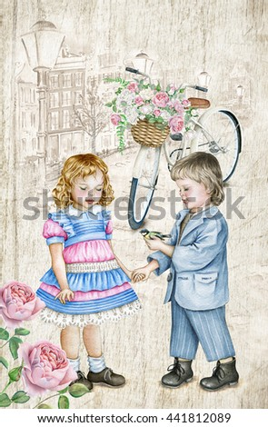 Watercolor children in vintage style. Boy with bird and little girl with red hair. - stock photo