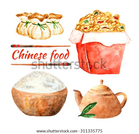 Watercolor chinese food collection including noodle in the box, bowl with rice, kettle with tea, dumplings and chopsticks - stock photo