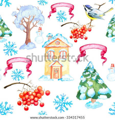 Watercolor Christmas and New Year seamless background with tit bird, rowan, snowflakes, ribbon, house and trees. - stock photo